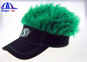China Black Cotton Lady's Sun Visor Hats With Green Fake Hairs And Embroidery Logo on sale