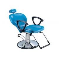 China Light Blue Salon Barber Chair Artificial With Manual Lifting , Tilted Footrest on sale