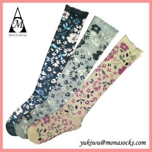 China 100% Cotton Flower Type Womens Knee High Boot Socks on sale