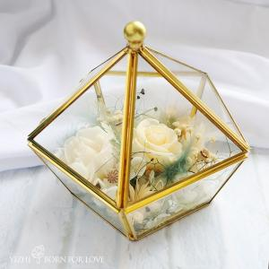 China Metal Framed 15*15*14CM 4-5cm Preserved Rose Glass Dome on sale