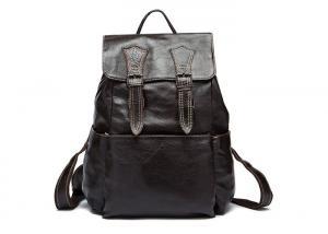 China Mens Black Leather Book Bag , Large Leather Computer Backpack L30 * H40 * T15cm on sale