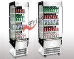 Delgados de cristal curvada abren estantes refrigerados de la vitrina 3 con la luz del LED