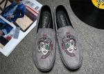 Embroidered Loafers Leisure Comfort Driving Custom Logo Gray Black Crushed