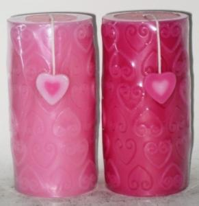 China Fragranced wedding decorations candles with heart carving on sale