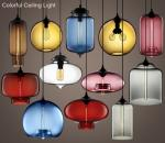 Festival Bar Restaurant Cafe dining room colorful glass LED home decorate lamp customized ceiling light TH102