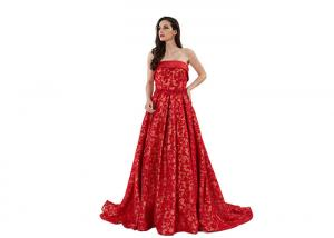 China Sequin Strapless Arabic Long Mermaid Wedding Dress Red Color Customized Size supplier