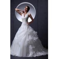 China Girls Sexy V Neck A Line Applique Beaded Empire Line Wedding Dresses , White on sale