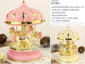 China Romantic carousel music box / wind-up music box  luminous creative gift to girlfriend on sale