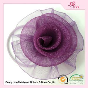 China Purple Decorative Sheer Organza ribbon flower hair bows 5.5cm Size on sale
