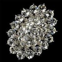 Custom rhodium plated Copper / alloy handmade zinc alloy crystal bridal brooches