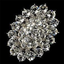 China Custom rhodium plated Copper / alloy handmade zinc alloy crystal bridal brooches on sale