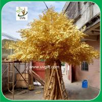 China UVG GRE042 gold banyan leaves outdoor artificial trees for festival landscaping on sale