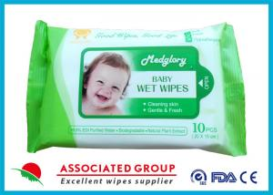 China Skin Care Natural Baby Wipes No Chemicals White 10pcs Package 50gsm Weight on sale