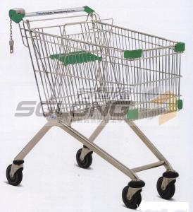 China Unfolding Colored Supermarket Shopping Trolley Baskets Steel Material on sale
