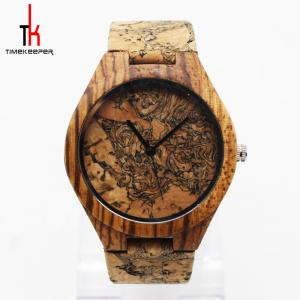 China Personalized Bamboo Watches Engraved Wooden Watches For Dad Cork Dial And Strap on sale