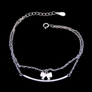 China Double Chains Plain Silver Bracelet Bow Rosettle Butterfly 925 Silver on sale