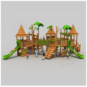 China Nature Style Children Wooden Outdoor Playset Playground Cottage Playhouse For School on sale