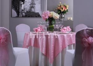 China Pano de tabela bonito do hotel do jacquard do banquete de casamento com tamanho e cor personalizados on sale