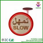 Solar powered traffic sign board arabic solar led slow down sign custom circular traffic signs