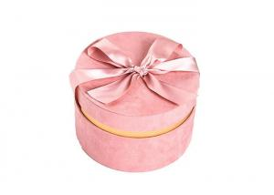 China Round Glitter Velvet Jewelry Box , Suede Gift Box Stamping Logo With Top Ribbon on sale