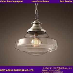 China Industrial Vintage Style Light Fitting Glass Ceiling Pendant Lamp Shade Light on sale