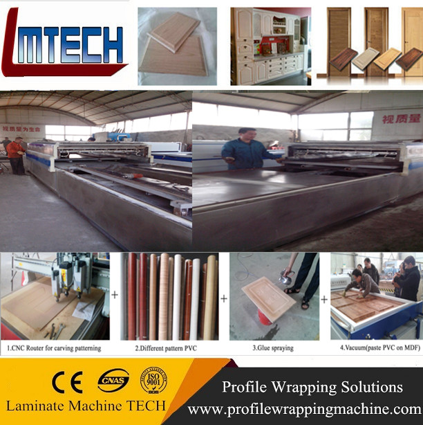 China PVC MDF modern kitchen cabinets vacuum membrane press machine