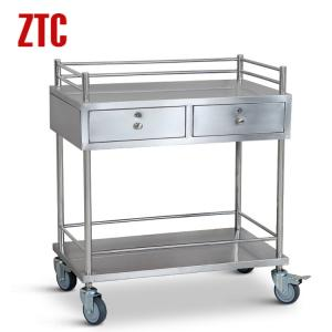 China Medical stainless steel instrument cart with drawers,drug moving hand trolley on wheels on sale