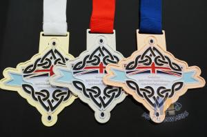 Quality Gold / Silver / Copper Die Cacting Metal Award Medals One Side With Soft Enamel for sale
