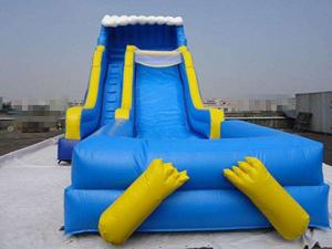China Blue Durable Swimming Pool Lake Inflatable Water Slides Eco Friendly PVC on sale
