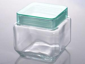China Square Clear Glass Tableware Storage Jar Food Container With Lid on sale