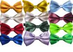 polyester silk Men solid plain bow tie OEM logo Evening tunic clothing accessories multicolor