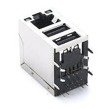 China LANマザーボードはRJ45ジャックledsが付いている二重USBのコンボのコネクターを保護しました on sale