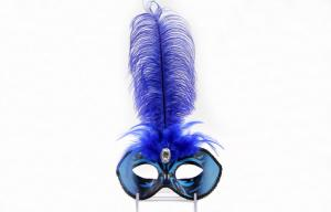 China Pink Peacock Feather Masquerade Masks Lace For Carnival 12 Inch on sale