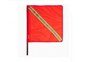 China Orange Outdoor Traffic Safety Flag PVC Fabric 46cm With Reflective Tape on sale