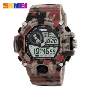 China SKMEI Camo LED military time digital watches  Men Dual Display Sports  Waterproof Wristwatch 1029 on sale