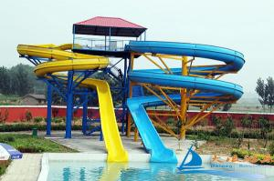 China Custom Aqua Play Equipment Outdoor Twin Amusement Park Water Slides For Adults on sale