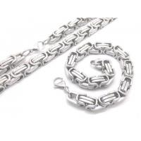 Lobster Claw Clasp Mens Byzantine Stainless Steel Link Chain Necklace Bracelet