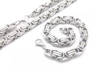 China Lobster Claw Clasp Mens Byzantine Stainless Steel Link Chain Necklace Bracelet on sale