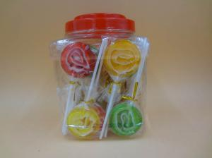 China Multi fruit Flavor Round Flat Large Swirl Lollipops / Hard Candy Food With PVC Jars on sale