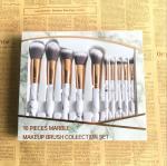 Professional Makeup Brush Set , Marble Makeup brush Set Aluminum Ferrule Material