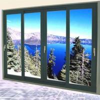 Aluminum Double Sliding Glazed Doors / Tea Glass Double Slider Patio Doors