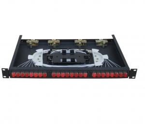 China 24 fibers Rack-Mount Fiber Optic Terminal Box optical patch panel Cold rolled steel sheet in black color on sale