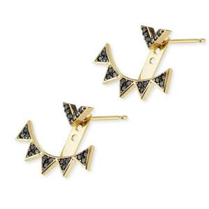 China Gold Plating Triangle Ear Jacket Earring Cubic Zircon Stone Two Wearing Way on sale