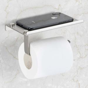 China Stainless Steel Toilet Paper Holder / Commercial Toilet Roll Holder With Shelf on sale