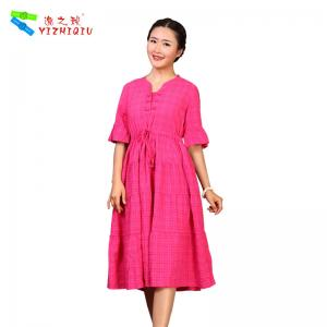 China Comfortable Cotton Summer Clothing Ladies Dresses Washable , Mid - Calf Length on sale