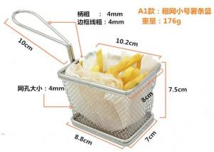 China Deep Fryer Wire Mesh Fry Basket Round / Rectangular / Square With Long Handle on sale