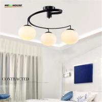 China Modern Glass Ceiling Light 3 or 5 Lights E26 E27 Base Metal Black lamp Painting Flush Mount bedroom Ceiling Lamp for Liv on sale