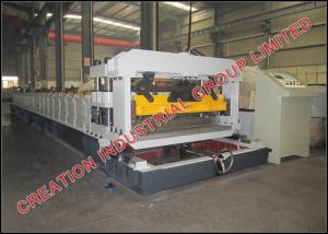 China Corrugated Sheet Roof Tile Roll Forming Machine With Mitsubishi PLC Control Box on sale