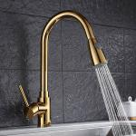Gold long neck extendable pull out brass kitchen basin faucet  For Hotel Use