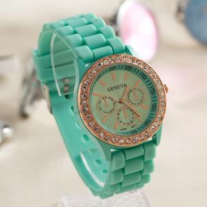 China 2015 luxury Fashion Goods Lady Rose Gold Diamond Quartz Silicone Jelly Watches Geneva watch Wholesale on sale